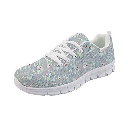 POLERO Sneaker Zapatillas de Deporte Flores para Dama Mujer con Cordones 37 Talla Europea