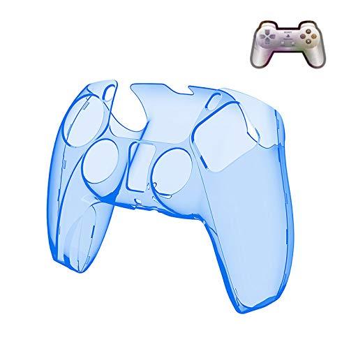 STKJ Game Controller PS5 Kristallgehäuse, Ultradünne Griffschale Hard PC Transparente Schutzabdeckung Playstation 5 Zubehör,Blau