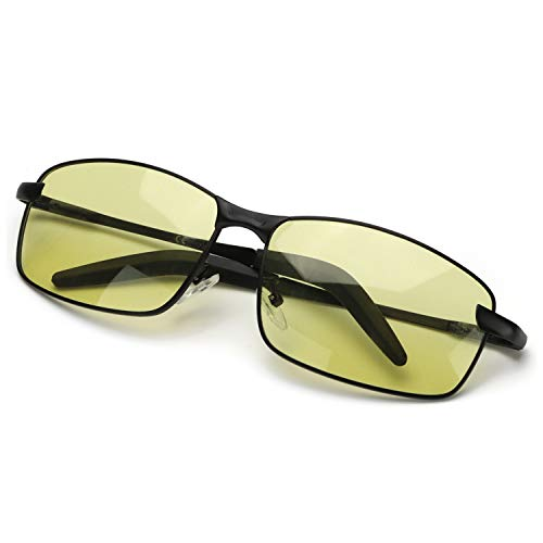 Enafad Gafas Nocturnas Conduccion Gafas Fotocromaticas con Estructura Metálica-Gafas de Sol Hombre Polarizadas Protección 100% UVA&UVB (Montura negra/lente amarilla)