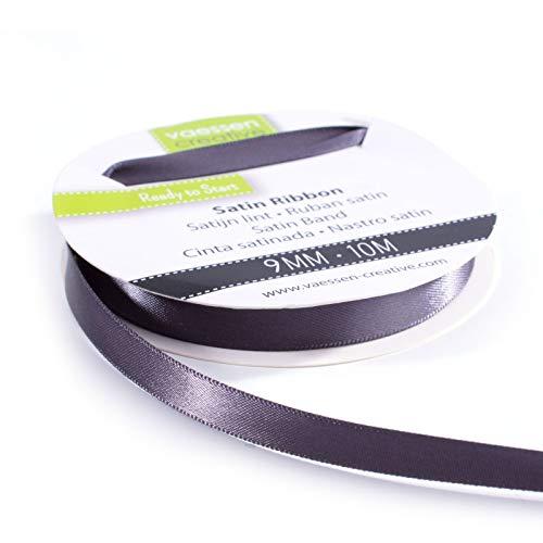 Vaessen Creative 301002-2005 Satinband Anthrazit, 9 mm x 10 Meter, Schleifenband, Dekoband, Geschenkband und Stoffband für Hochzeit, Taufe und Geburtstagsgeschenke, 9MM
