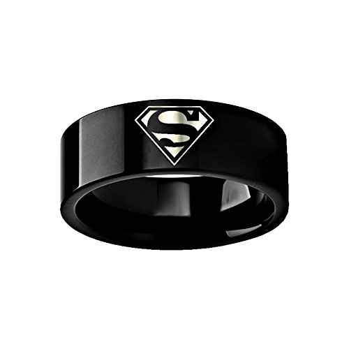 Thorsten Superman Emblem Symbol Hero Ring Wedding Band Black Tungsten Engraved 8mm Band Ring by from Roy Rose Jewelry
