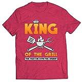lepni.me T-Shirt pour Hommes Le Roi du Gril Maître du Barbecue Chef l'homme Le Mythe La Légende (XL Rouge Chiné Multicolore)