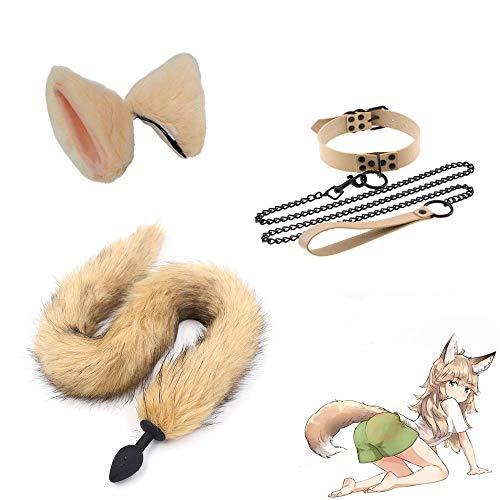 Disfraz de Fiesta de Navidad de Halloween Wolf Fox Tl Ears Pinza para el Cabello y Collar de Cadena de traccin Juguetes romnticos para Mujeres - M
