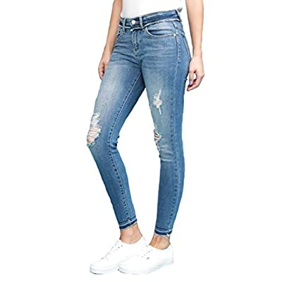 Women's Raw Waistband Destroyed Skinny Jeans