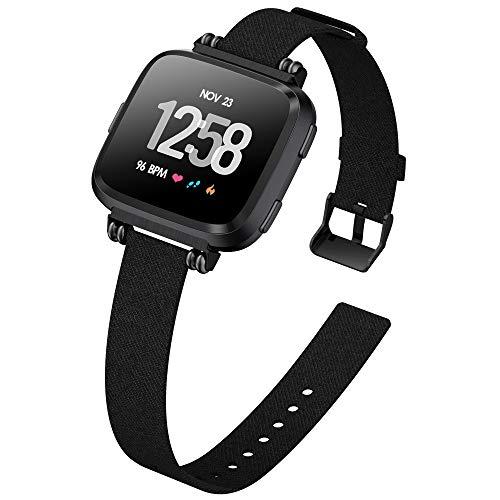 KIMILAR Armbänder Kompatibel mit Fitbit Versa/Versa 2/Versa Lite/SE Armband Stoff, Perlen Quadratische Schnalle Schlank Ersatzband Uhrenarmband für Versa Special Edition Smartwatch, Schwarz