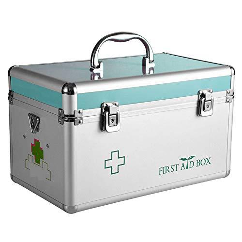 2 lagen Eerste Hulp Geval, Duurzame Aluminium Frame Medicine Opslag Container Doos, voor Geneesmiddelen En Thuis Veiligheid, 14 Inches