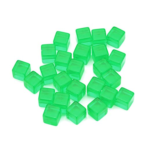 25pcs Transparent Dice Acrylic Cube Board Game Kid DIY Fun and Teaching (Green)