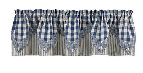 "Park Designs York Point Curtain Valance, 72"" by 15"", Blue"