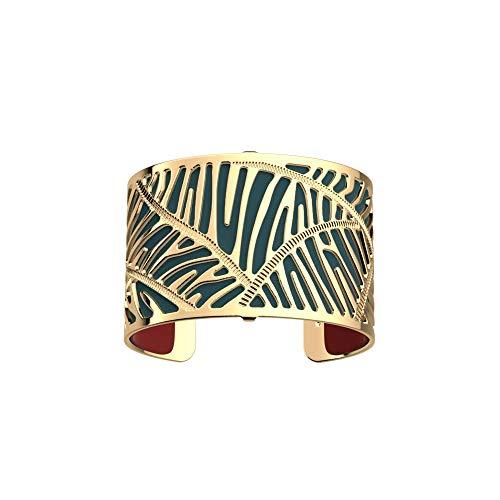 Les Georgettes - Bundle - Armreif Gold 40mm Zebrures/Zebra inkl. Ledereinsatz Petrol/Himbeer Rot