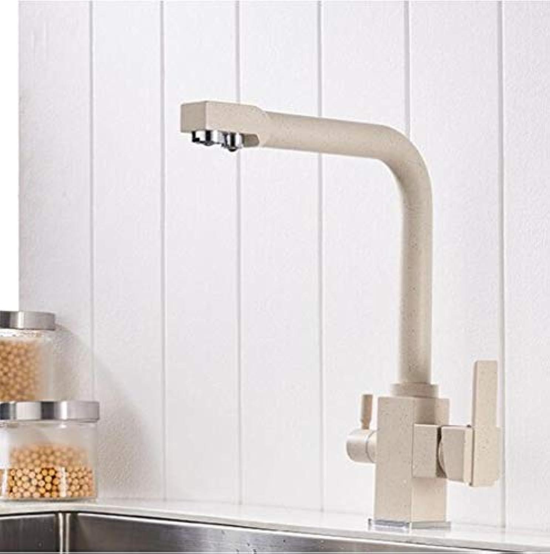 XiaoHeJD Vollmessing Küchenarmatur mit gefiltertem Wasser Doppelauslauf Wasseraufbereitung Küchenarmatur Schwarz Spültischmischer Kran, wei