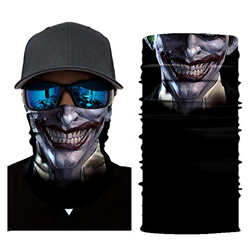 Stoota Joker Print Face Mask, Rave Bandana, Neck Gaiter, Scarf, Summer Balaclava for Dust Wind UV Protection