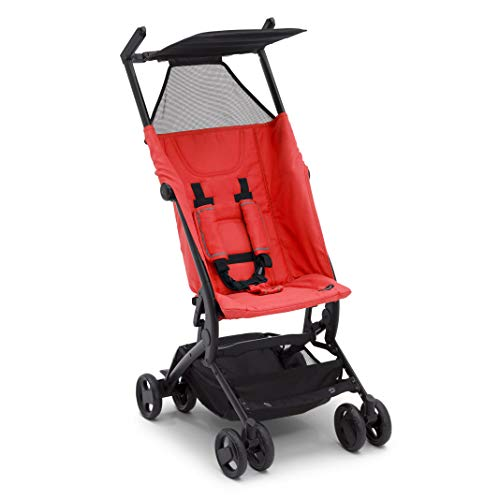 The Clutch Stroller by Delta Children - Lightweight Compact Folding Stroller - Includes Travel Bag - Fits Airplane Overhead Storage - Red