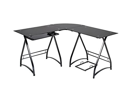 Naomi Home 3-piece Allison Stylish L-shaped corner computer table black