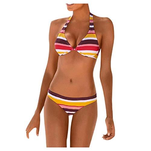 Baohooya Costumi da Bagno Sexy Moda A Due Pezzi per Bikini A Fascia Push-Up Allacciato all'Americana con Strisce Boho (M, Arancia)