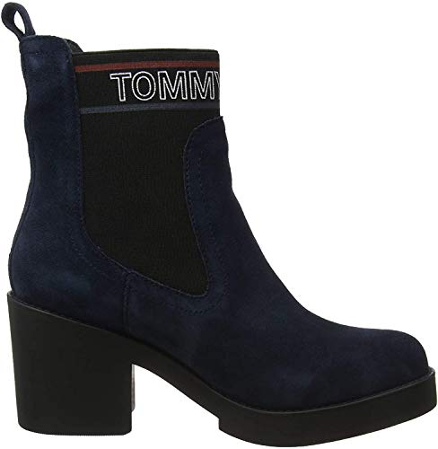 Tommy Hilfiger Damen Corporate Elastic Suede Boot Stiefeletten, Blau (Midnight 403), 40 EU