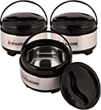 ANEKANTS DIAMOND Stainless Steel Solid Casserole - 900ml, Set of 3, Silver