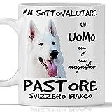 Taza de pastor suizo blanco para hombre, apta para desayuno, té, tisana, café, capuchino. Gadget taza nunca subestimar un hombre con un perro pastor suizo blanco. Idea de regalo original