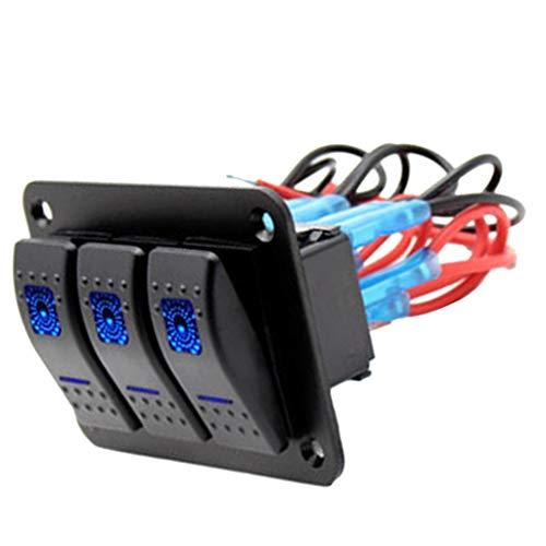 No-Branded - Conmutadores de barco rocker con panel de 12 V, 3 Gang impermeable, con balancín LED azul
