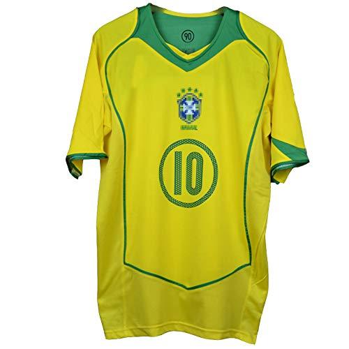 2004 Retro Football Jersey Adatto per Brasile Home Casa Magic Quartetto Ronaldo Ronaldinho Kaká Adriano Maglia da Calcio, Numero Personalizzato e Nome, T-Shirt da ca #10-S