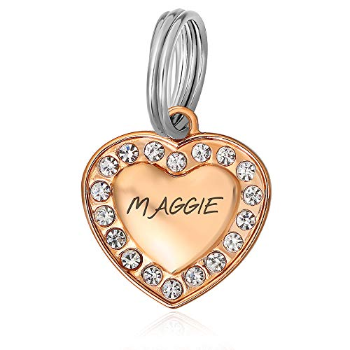 Divoti Custom Engraved Personalized Stainless-Steel Small Heart Bling Pet Tag pet Tags for Dogs and Cats – PVD Rose Gold