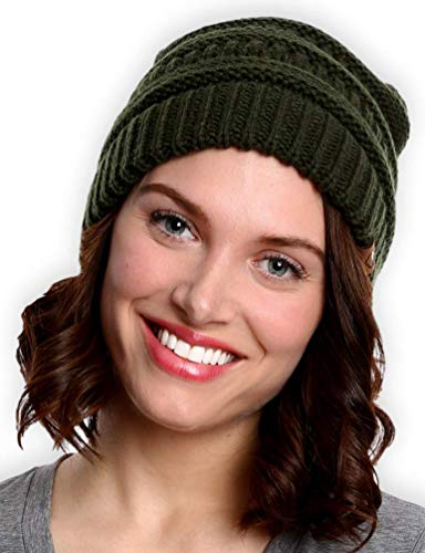 Tough Headwear Womens Beanie Winter Hat - Warm & Chunky Cable Knit Hats - Soft Stretch, Thick & Cute Knitted Stocking Caps for Cold Weather - Stylish & Trendy Snow & Ski Beanies for Ladies Black