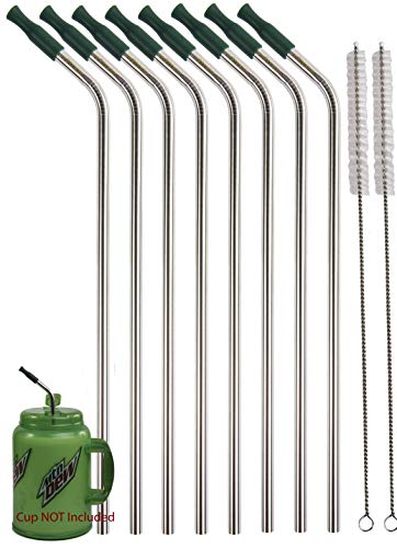 """8 JUMBO 14"""" Stainless Steel 100 oz Straw + 8 Silicone Tips HUGE SUPER LONG Drinking Wide Insulated Whirley Travel Mug FOAM Truck Stop Cup (8 Jumbo Straws)"""