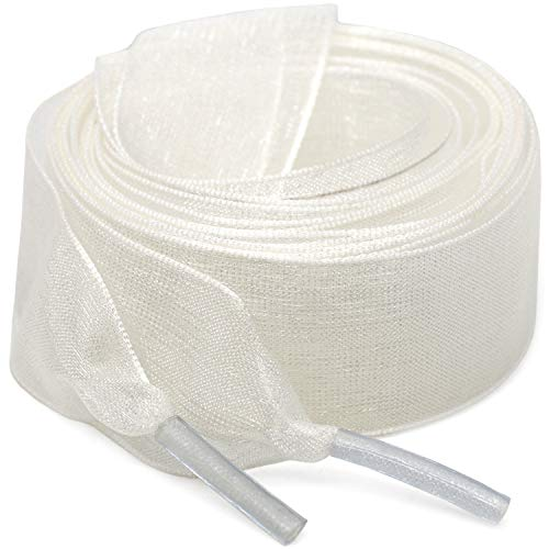 Flat Snow Yarn Shoelaces White for Women WEGOODZF 2cm Wide Shoe Laces Girls[2 Pair 24']