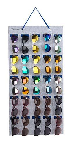 Pacmaxi Sonnenbrillen-Aufbewahrungstasche, Wandtasche montiert von Sonnenbrillen, hängende Brillenaufbewahrung, Brillendisplay 25 Slot Grau + Königsblau