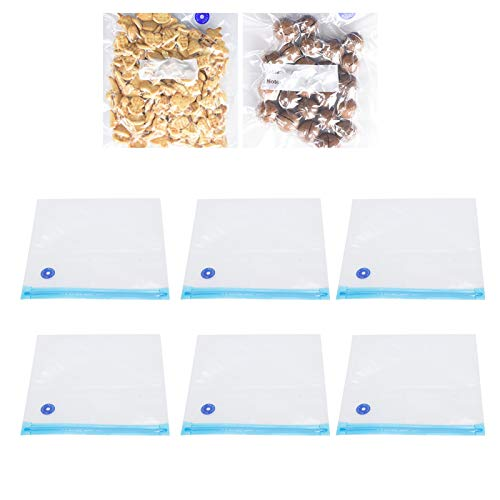 Bolsa de vacío, bolsa con cremallera al vacío Bolsa selladora de alimentos con etiqueta en blanco Se puede reutilizar muchas veces para la familia para el nombre y la fecha de la comida(29*22cm)