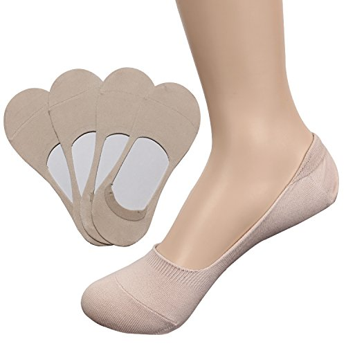 TETIBA Women's Premium Cotton No Show Liner Socks with Double Elastic band & Non slip Silicone Patch Pack of 4 Pairs (shoe 8-11, 4 Pack_beige)