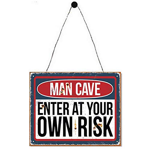 Primus Plaque Murale en métal 25 cm x 20 cm pour Cuisine, Garage, abri de Jardin Vintage (Man Cave Enter at Own Risk), Taille Unique