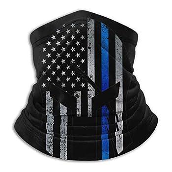 Yolov Thin Blue Line Spartan Neck Gaiter Face Cover Headwear Balaclavas for Cycling Skiing