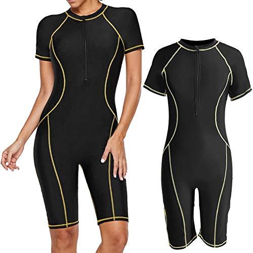 Lady Wetsuit - Dames eendelig zwart duik-snorkelpak, korte mouwen, snel surfen