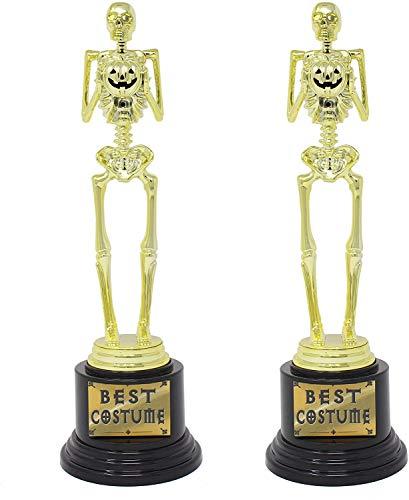 2 Halloween Best Costume Skeleton Trophy for Halloween Skull Party Favor Prizes, Gold Bones Game Awards, Costume Contest Event Trophy, School Classroom Rewards, Treats for Kids, Goodie Bag Fillers