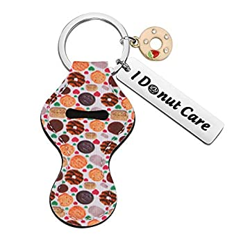 HOLLP Funny Donut Chapstick Holder Keychain I Donut Care Lipstick Holder Lip Balm Pouch Doughnut Gift for Girl Women  Keychain