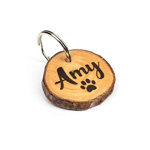 Hundemarke aus Rosenholz mit Wunsch Gravur (personalisiert) beidseitig graviert/inkl. Schlüsselring für Halsband & Hundeleine