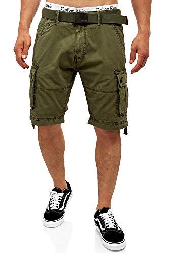 Indicode Herren Abner Cargo Shorts mit 7 Taschen aus 100% Baumwolle | Kurze Hose Sommer Herrenshorts Freizeitshorts Men Short Pants Cargohose Bermuda Sommerhose kurz für Männer Army L