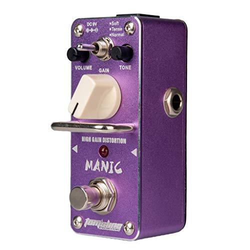 Homyl 1x Purple Guitars Effects Pedal De Efecto De Distorsión De Alta Ganancia 9x3.8x4.8cm