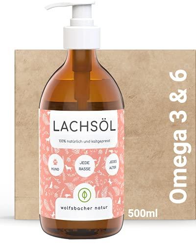 Wolfsbacher Lachsöl in nachhaltiger Glasflasche mit Pumpe - 500ml kaltgepresst und hochdosiert mit Omega 3 und Omega 6 Fettsäuren - Für Hunde und Katzen, Schmierfrei...