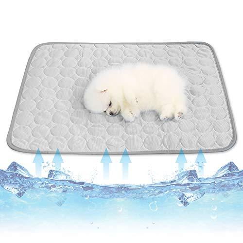 Cysincos - Alfombra refrescante para perro, alfombra refrigerante para perro, alfombra fría, gato, manta para perro XXL para el verano, material multifuncitonelado (gris, L)