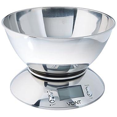 Vont 11lb/5kg Digital Kitchen Food Scale, Bowl Design, Stainless Steel with Alarm Timer & Temperature Sensor
