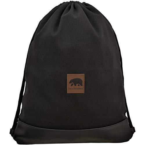 I'm a Bearliner® - Turnbeutel mit Innentasche | Handmade aus hochwertigem Baumwoll-Canvas | Alltag Daypack Reisen Festival | schwarz | Damen & Herren