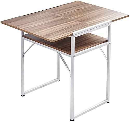 Mesa de comedor plegable con estantes de almacenamiento y ruedas Mesa de comedor de cocina de hoja abatible móvil de madera con armario Escritorio extensible de uso versátil para un apartamento de e