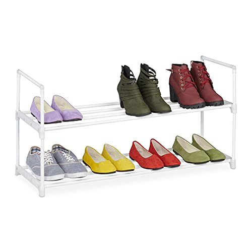 Relaxdays Niveles, Sistema de Ranuras, 8 Pares de Zapatos, para Pasillo, Ampliable, Metal y plástico, Zapatero, Color Blanco, 2 Ebenen