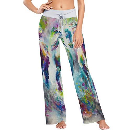 Manada de Caballos Acuarela Imprimir Pantalones de Pijama para Mujer Ropa de Dormir Pantalones de Yoga Holgados con cordón Informal Palazzo - L