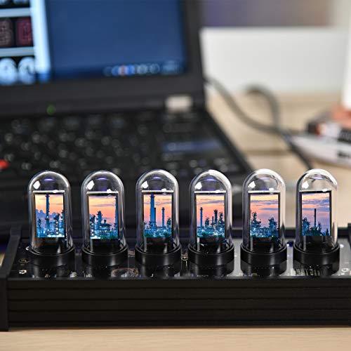 Kacsoo Glow Tube Clock Múltiples Estilos de Pantalla Reloj Digital LED RGB con más de 20 Modos Disponibles y 1000 Colores Regalo romántico Ajustable para Amantes y Amigos Cumpleaños de Navidad