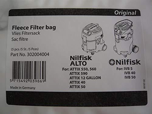 Nilfisk 302004004 WAP Vlies Filtersack Staubsaugerbeutel für ALTO, Attix, IVB
