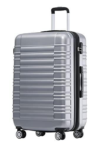 BEIBYE Zwillingsrollen Reisekoffer Koffer Trolleys Hartschale M-L-XL-Set (Silber, L)