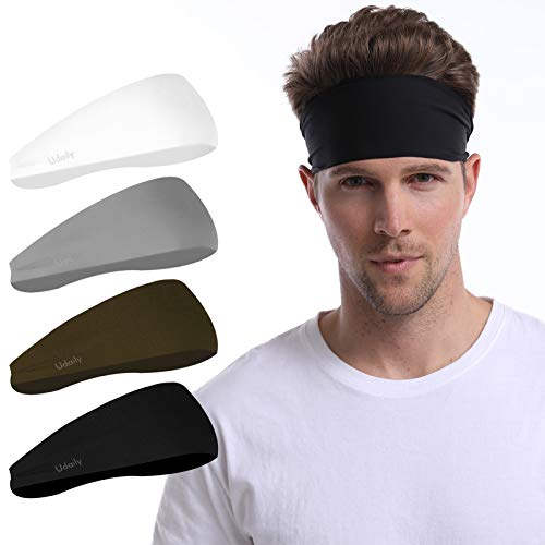 Udaily 4 Pack Mens Headband, Sports Headbands for Men and Women, Mens Sweatband for Workout, Running, Hiking, Yoga, Basketball, Cycling, Elastic Sweat Wicking, Non Slip, Helmet Friendly Hairband