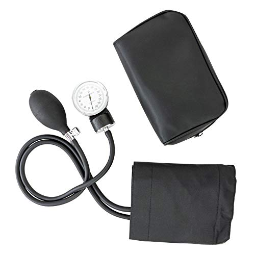 LINE2design 58730-BK Manual Blood Pressure Cuff - Adult Large Medical Deluxe Aneroid Sphygmomanometer - Nurses BP Monitor with Durable Carrying case – Black